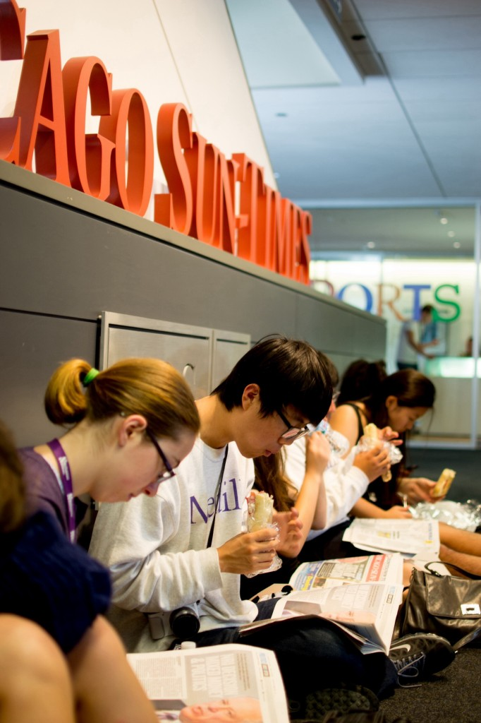 Anne Snabes and Brandon Kim join other cherubs for lunch and a tour of the Chicago Sun-Times.