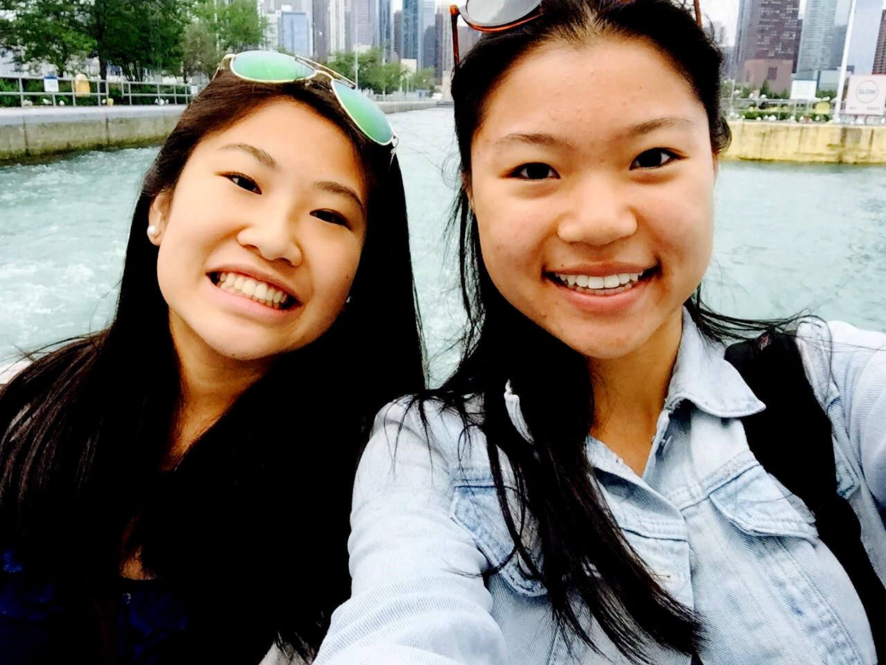 Caroline Gao (left) and Jennifer Chen (right) paused in the middle of sightseeing to take a selfie