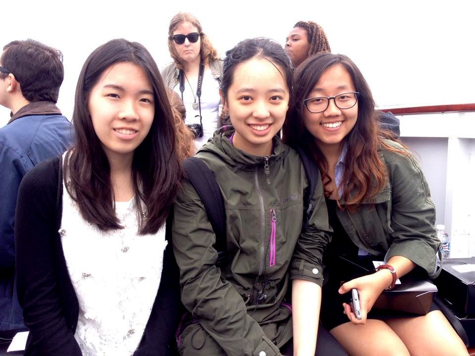 """""""The bird poop on the seat next to me was a bit of a downer,"""" Ashley Jun of Illinois said, """"but the trip was special because I got to spend time with the friends I made at Cherubs."""" <br> (from left to right) Annie Wan, Winny Sun and Ashley Jun posed for the camera."""
