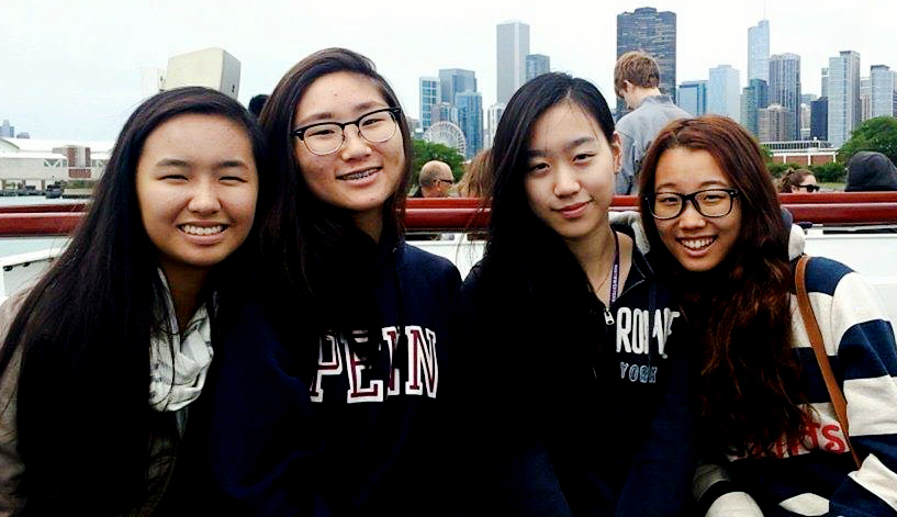Shawna Chen, Joanne Lee, Emily Kim and Mina Lee enjoyed the boat ride with friends.