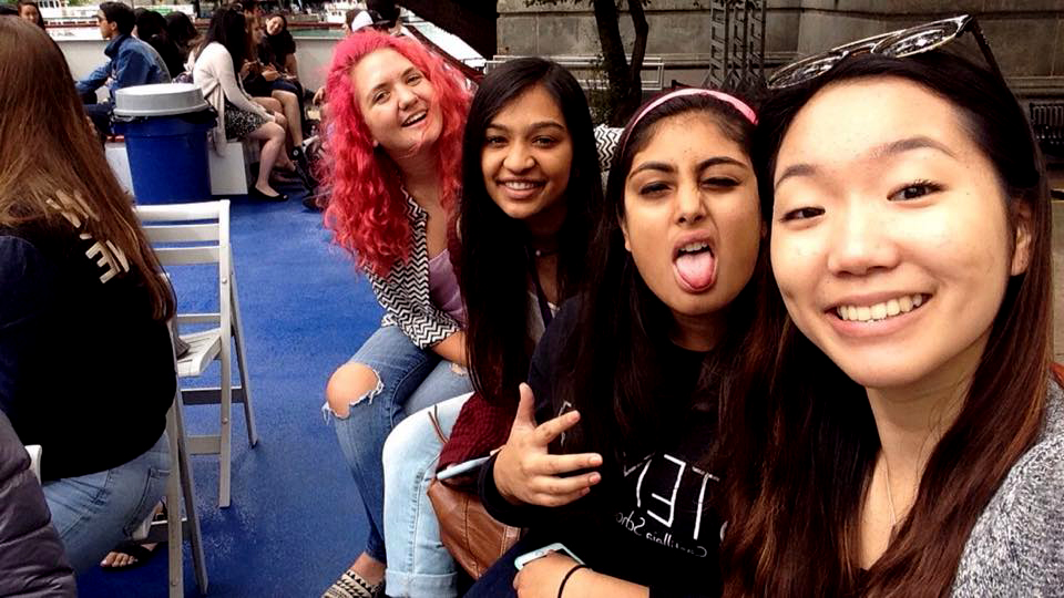 """""""I was really excited to be out of the dorms and on a boat with my friends,"""" Lucia Kim said. <br> (from left to right) Glenn Billman, Natasha Roy, Nayanika Kapoor and Lucia Kim had a great time!"""