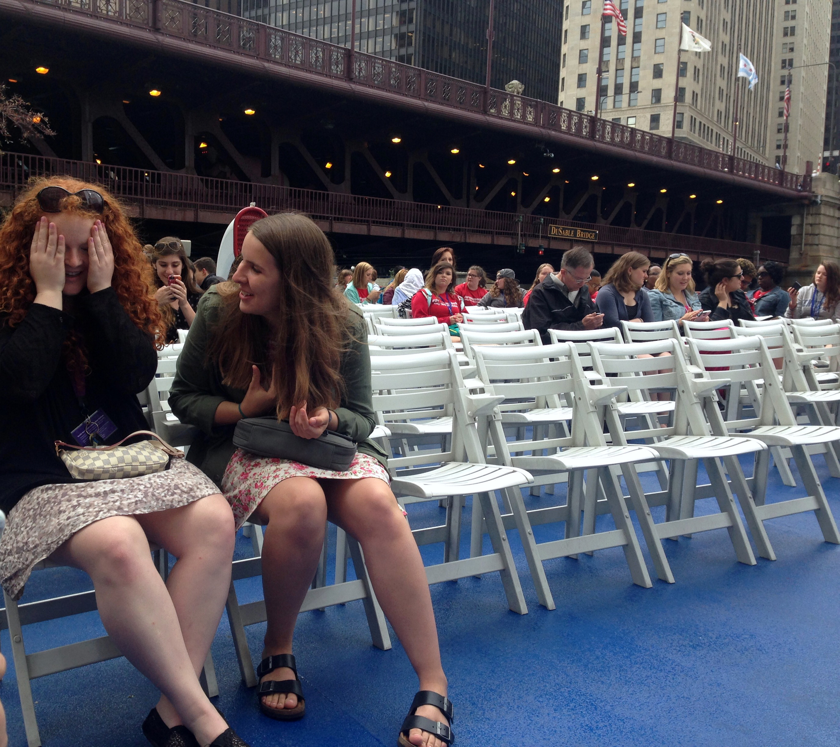 """""""It was a really good balance of getting to see the city and also getting to know each other,"""" Arden Shapiro of Michigan said of the tour. """"We were all sharing the moment, which was really nice."""" <br> Arden Shapiro (left) and Emma Swislow (right) had a lovely conversation."""