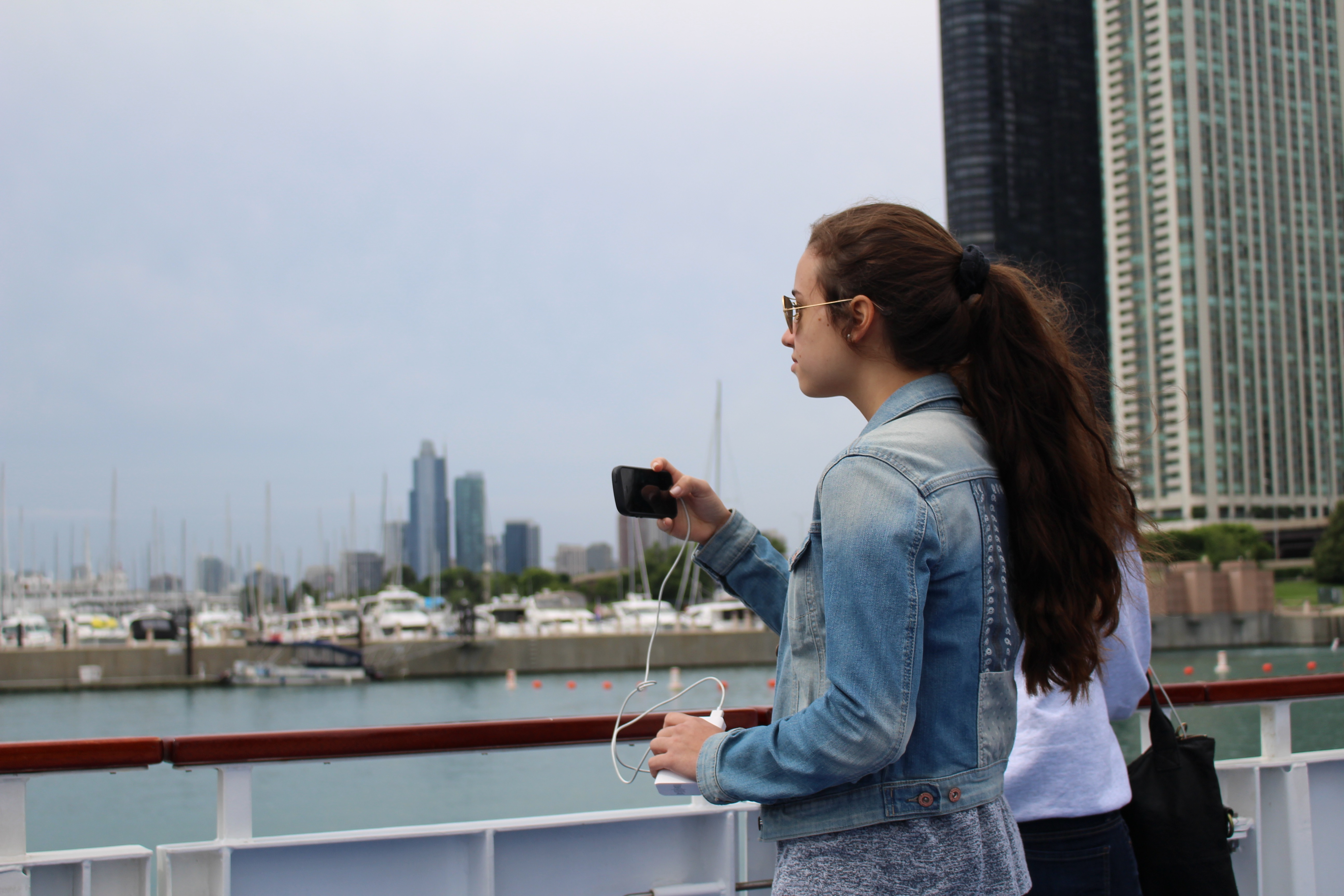 """""""It was very exciting and breath-taking to see a whole new world,"""" Giulia Villanueva of Paraguay said of the Chicago boat tour. <br> She waited for the perfect moment to capture the Chicago skyline."""