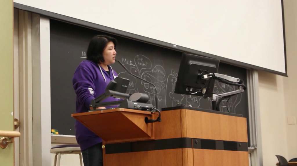 Instructor Cynthia Wang discusses blogging and telling personal stories at a Write Off session.