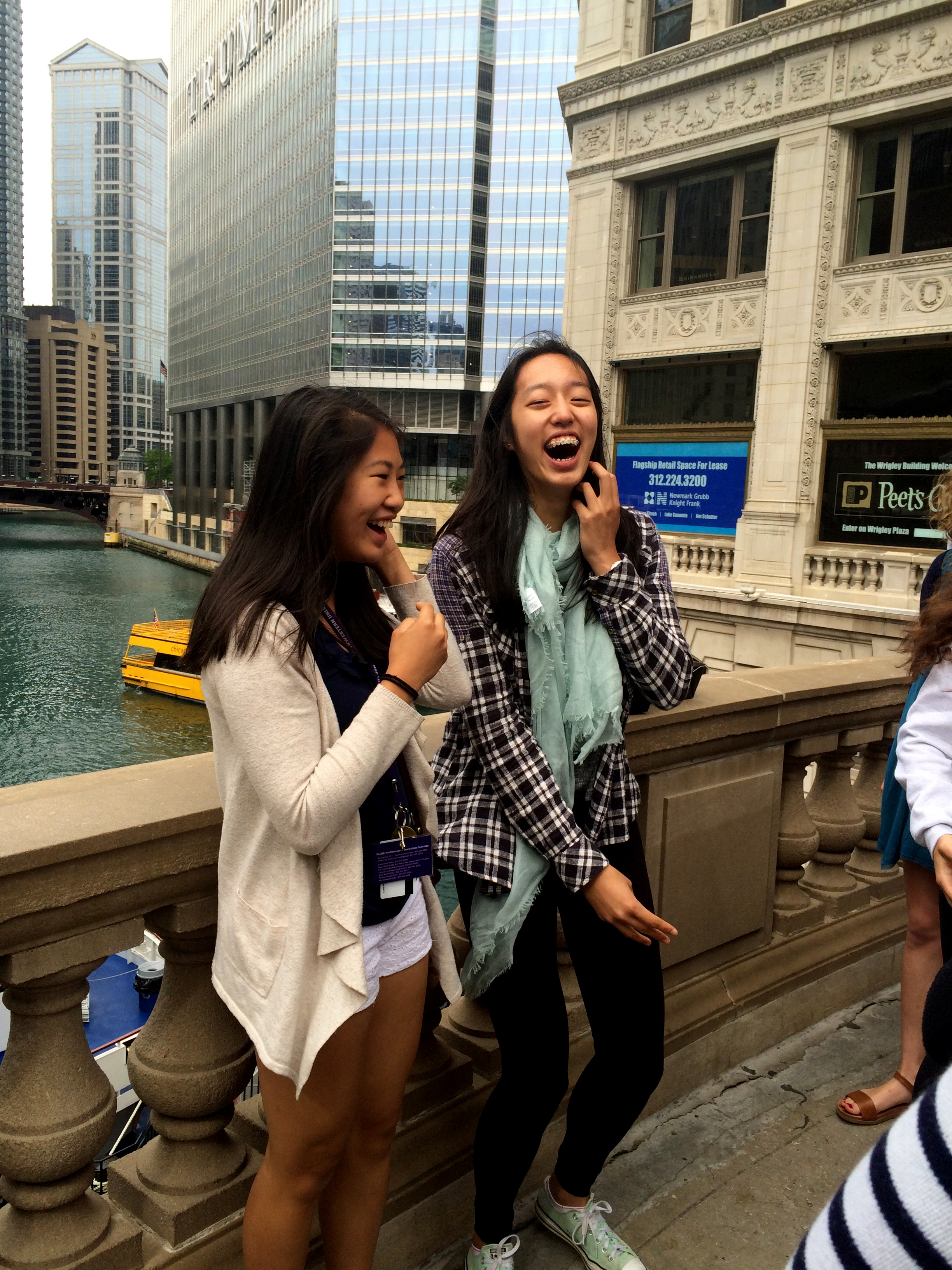 """""""I didn't realize how cool of a city Chicago was before this tour,"""" Courtney Gao of California said. """"The architecture is really different from where I'm from. It's a lot taller and it was really beautiful."""" <br> Caroline Gao (left) Courtney Gao (right) had a great laugh together."""