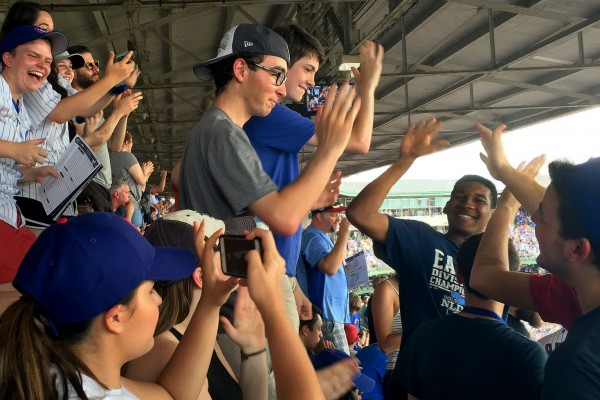 Cherubs celebrate a Cubs home run. Photo by Ella Brockway.