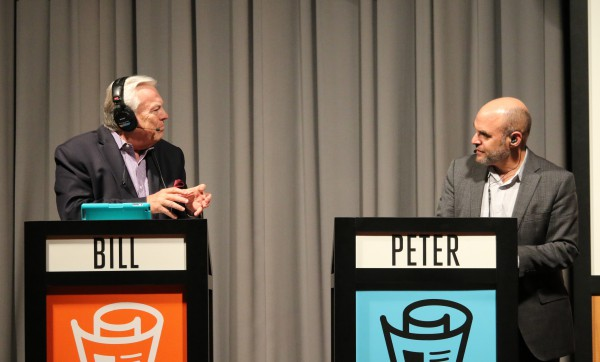 Peter Sagal and Bill Kurtis talk during live recording of Wait Wait...Don't Tell Me! Photo by Marc Chappelle.