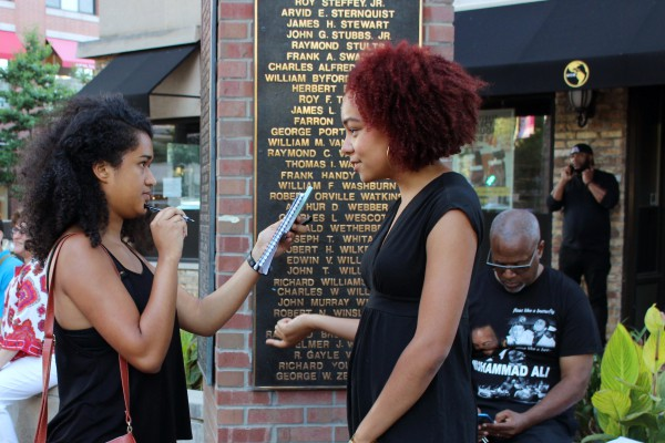 Cherub Marissa Martinez interviews Camille Allen, an organizer of a Black Lives Matter rally held in downtown Evanston.