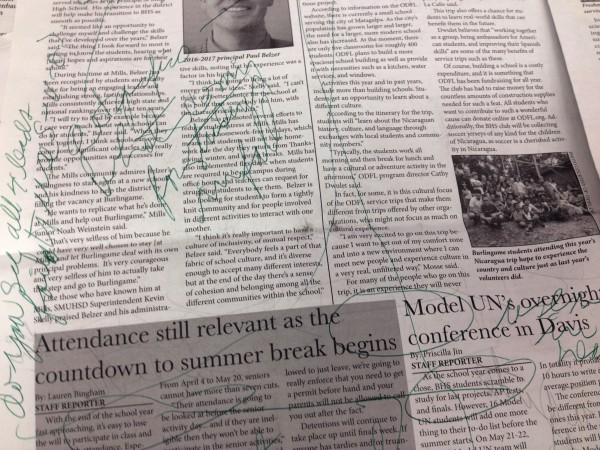 A cherub's high school newspaper after being critiqued by instructor John Kupetz.