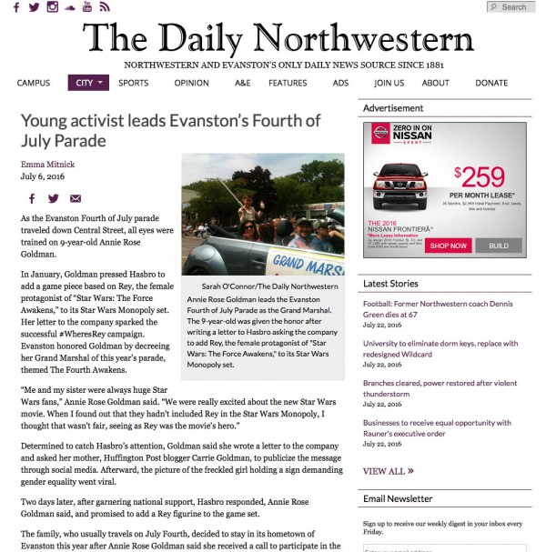 Emma Mitnick's story on The Daily Northwestern's website. Screenshot by Alexandra Chaidez.