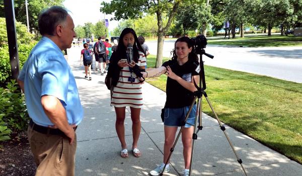 Cherubs interviewing John Kupetz. Photo by Alexis White