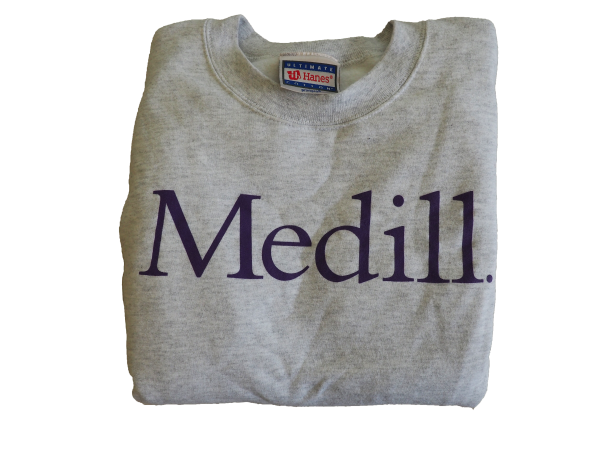 Gray sweatshirt with Medill written in purple letters