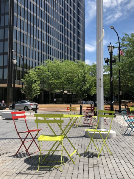 The neon chairs in downtown Evanston are a common hangout spot for cherubs.