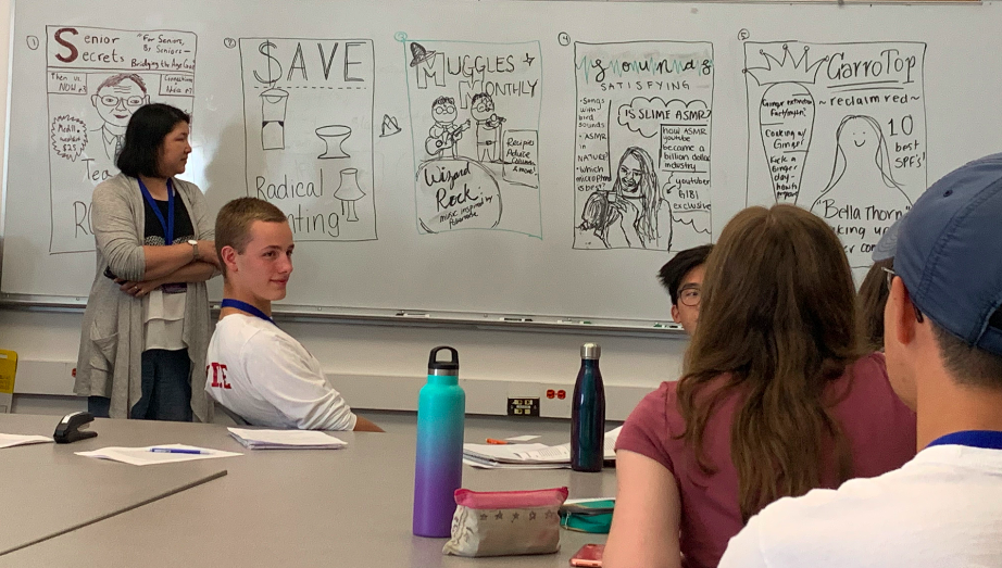 Photo of students looking at drawings on a white board during the magazine reporting workshop and presentation